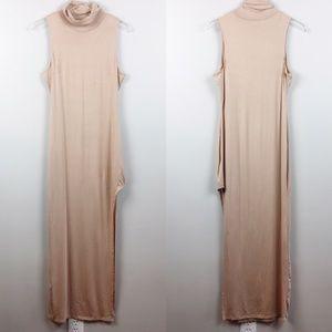 AX Paris | Nude High Neck Asymmetric Bodycon Dress